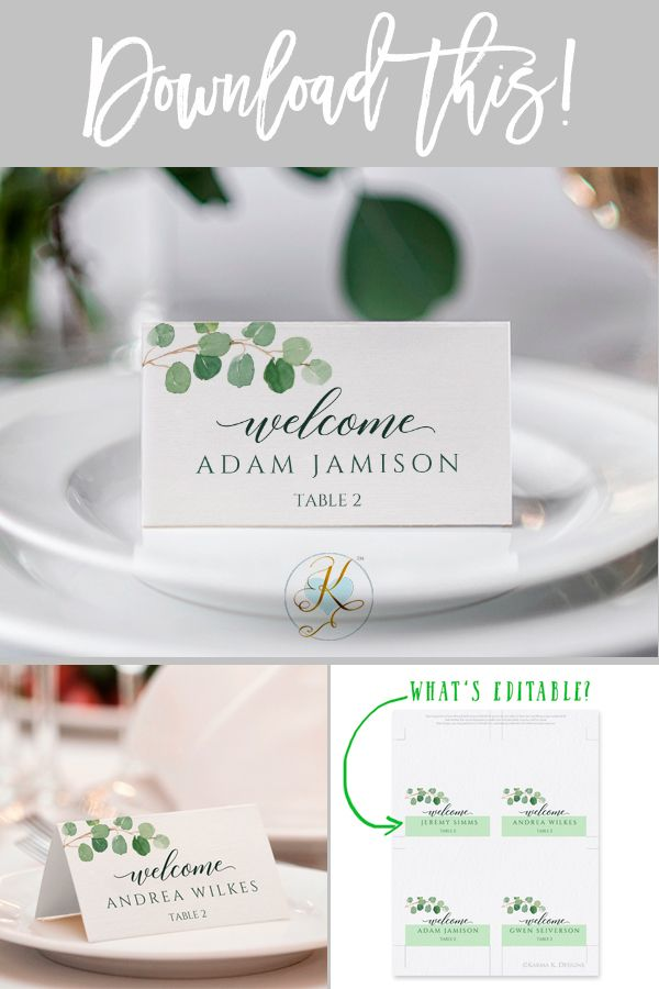 Wedding Place Card Template Tent Eucalyptus Leaves Templett Free Place Card Template Menu Card Template Wedding Place Card Templates