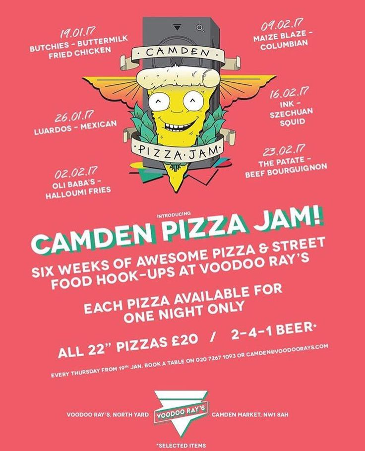 Voodoo Ray's Camden Pizza Jam - one street food collaborator each week - Thursdays