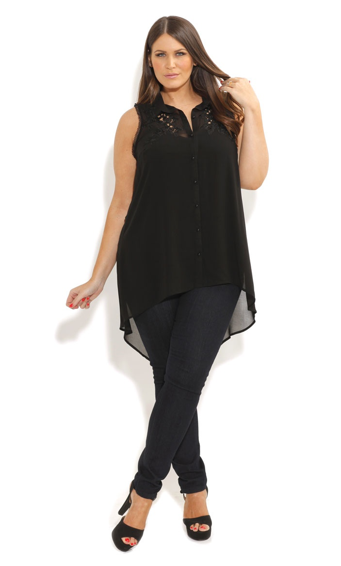 City Chic - EMBROIDERED HI LO TUNIC - Women's plus size fashion