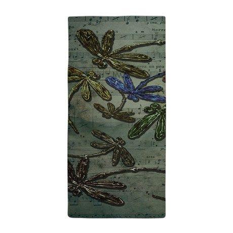 Dragonfly Song Beach Towel - pretty dragonflies on a musical score background! LyndseyART #dragonflies #dragonfly #beach #towel #summer #love #song #music