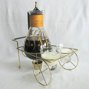 Vintage glass carafe with gold swirl w/sugar & creamer Mid Century Modern
