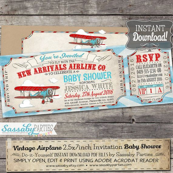 Vintage Airplane Baby Shower Invitation - INSTANT Download - Editable & Printable Boys Aeroplane, Biplane, Airline Ticket