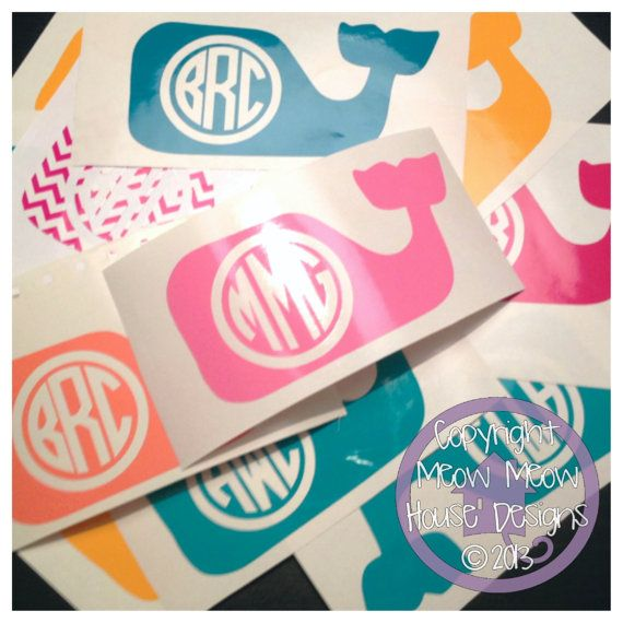 Monogrammed Whale Decal - Personalized Nautical Sticker - Cute Custom Decal for Car or Tablet