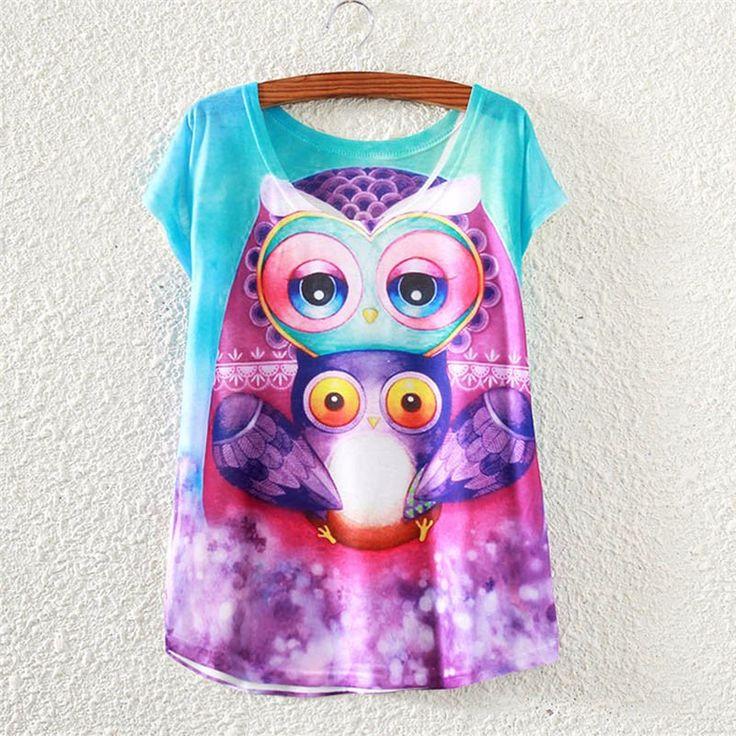 2017 Brand New Polyester T-Shirt Women Short Sleeve t-shirts o-neck Causal loose Purple Owl t shirt Summer tops for women
