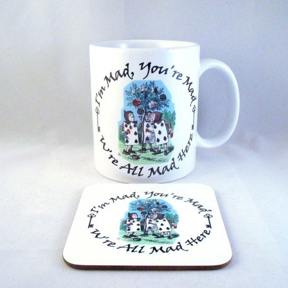 Alice In Wonderland Mug Cards painting roses by PurplePandaPrints