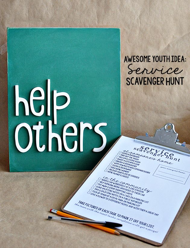 Such a fun idea for a youth activity- service scavenger hunt with free printables | From Allora Handmade via Thirty Handmade Days