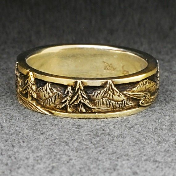 PEAKS PINES and RIVERS  A Wedding Band in 14k Yellow by BandScapes, $760.00
