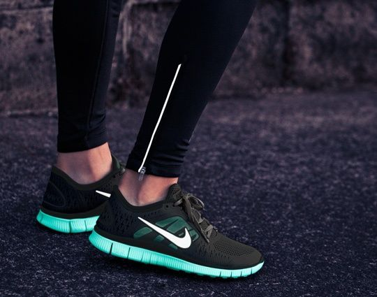 Balck nikes with teal bottom (Like Spider Gwen)