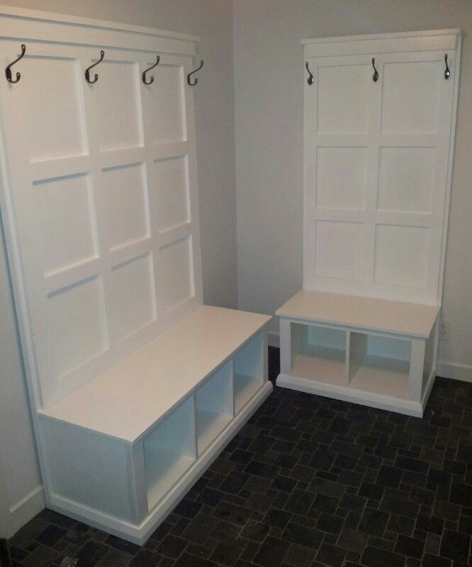 diy hall tree storage bench | DIY Hall tree and Benches for mud room. Plans courtesy of Ana-White ...
