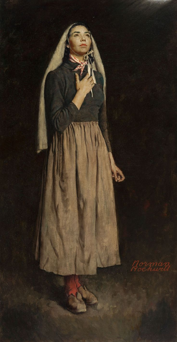 NORMAN ROCKWELL (American, 1894-1978). The Song of Bernadette, 1944. Oil on canvas. 53 x 28 in.. Signed lower right.