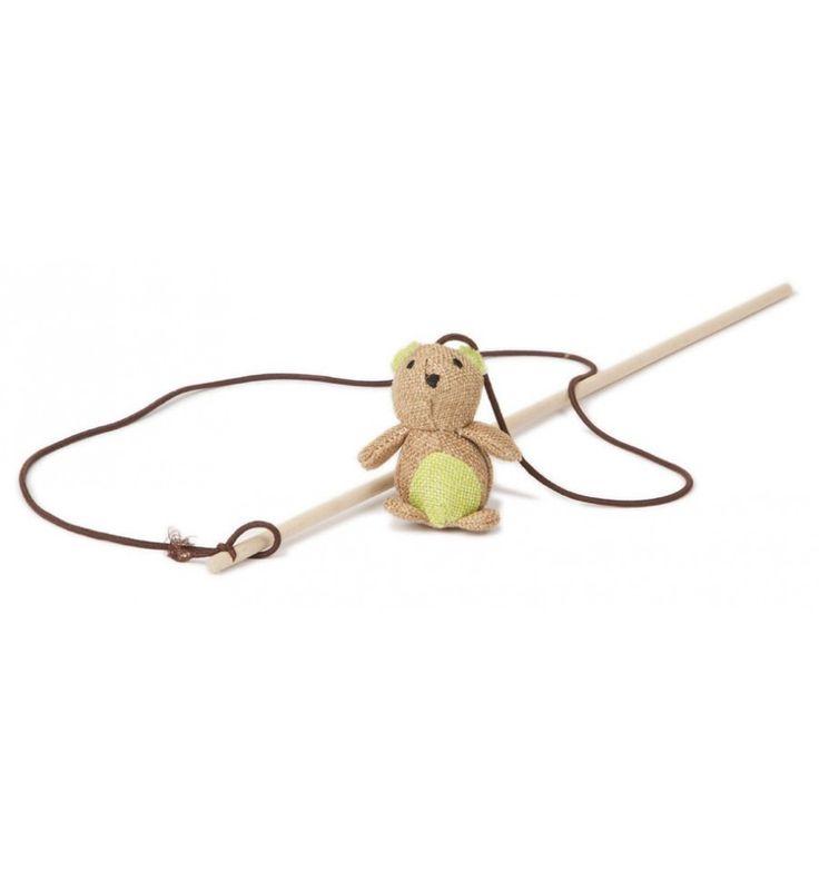 El juguete con caña ardilla/buho, para gatos llamará su atención manteniéndolo en movimiento. 40 cm.