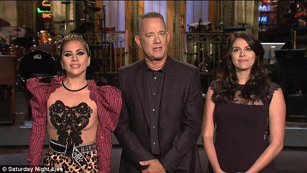 Getting pumped up! Tom Hanks recorded several eclectic promos with Lady Gaga, and SNL cast members Leslie Jones and Cecily Strong
