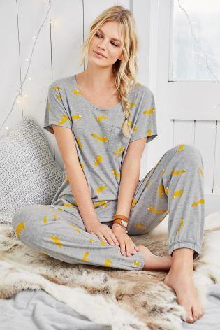 Grey Fox Print Pyjamas