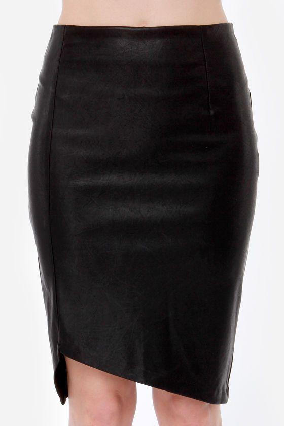 Mink Pink Ready To Start Vegan Leather Black Skirt at LuLus.com!