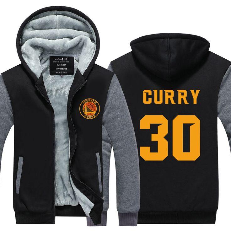 2016 Lettre Impression hommes D'hiver Hoodies Stephen Curry 30 MVP Impression Épaississent Zipper Manteaux USA UE taille Plus taille