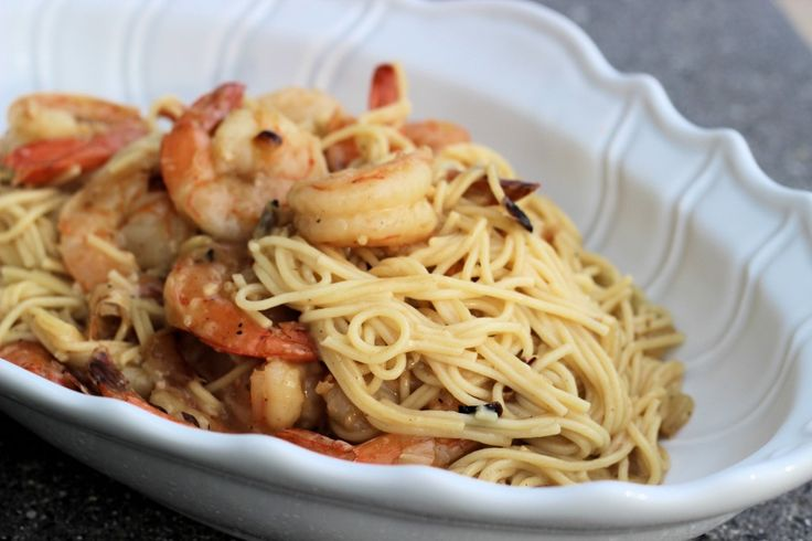 Simple Garlic Oil & Crushed Red Pepper Cappellini with Grilled Shrimp