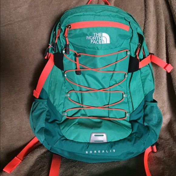 NorthFace Borealis Back Pack Mint Green and Neon Orange North Face Back Pack, has lots of compartments including one for laptop. Brand new never used North Face Bags Backpacks
