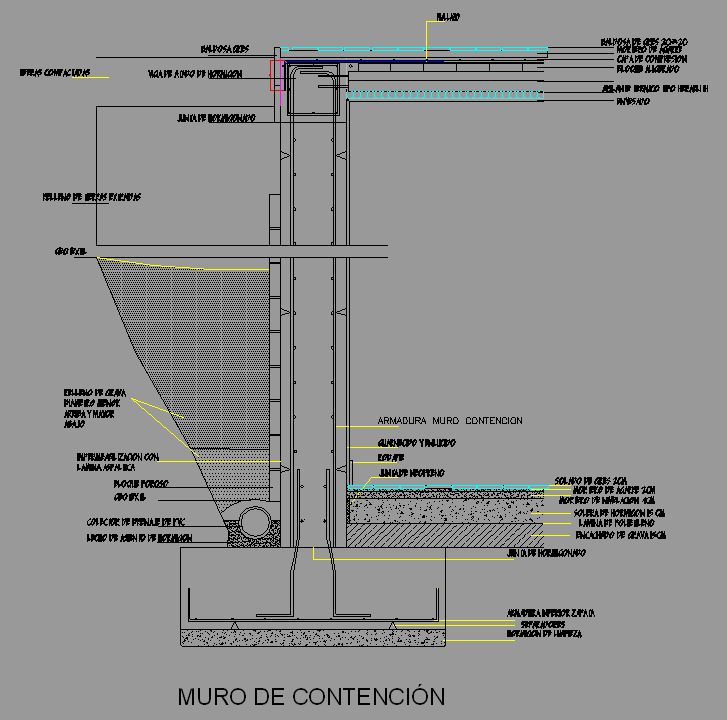 Bloque Autocad Muro de contención