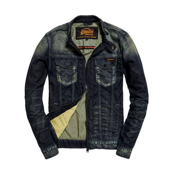 Superdry Biker Jacket ($120) ❤ liked on Polyvore featuring men's fashion, men's clothing, men's outerwear, men's jackets, blue, mens distressed denim jacket, mens rider jacket, superdry mens jacket, mens blue jacket and mens motorcycle jackets