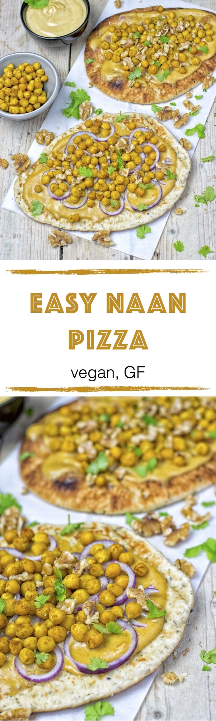 This easy homemade Easy Naan Pizza with Tandoori spiced chickpeas and a delicious green curry sauce. Also vegan and gluten free, for an incredibly delicious and flavorful dinner or lunch.