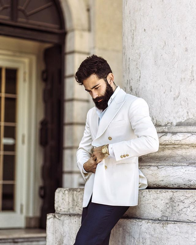 W H I T E & G O L D I really love this look, this combination never goes wrong (Do you think this outfit will work with the shaved head?... ) #Lisbon #Lisboa #Portugal #OOTD #Men #Man #Style #Beard #Bearded #Beards #Suit #Summer #Hair #Model #Fun #Lifestyle #Luxury #Photoshoot #JohnACMarques