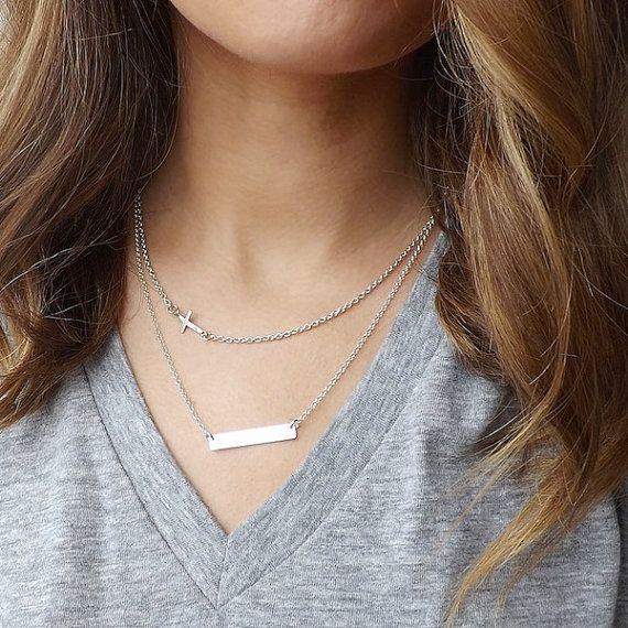 Bar Necklace Silver bar necklace Personalized Bar by Savijewelry