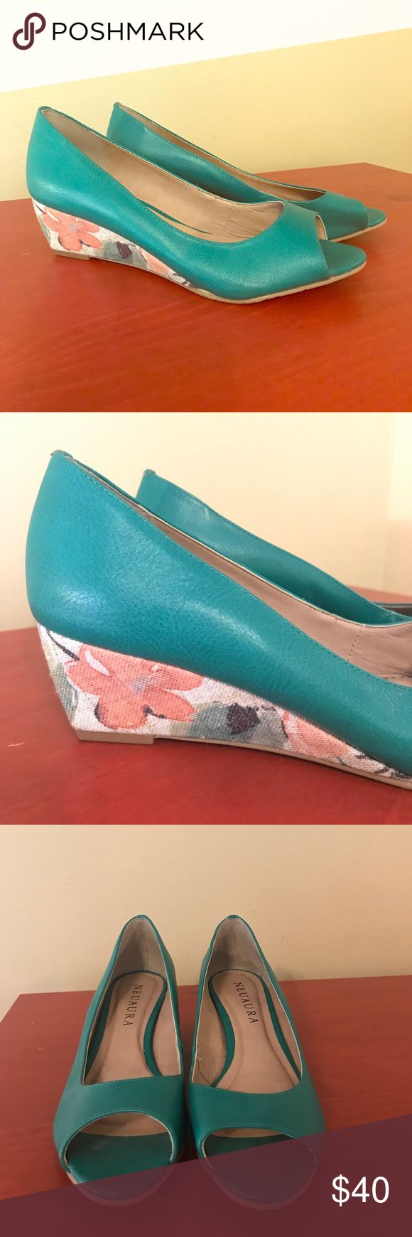 vegan, peep toe green wedges by Neuaura. These faux leather wedges by Neuaura have a 2-inch floral fabric heel. They've only been worn once. No scuffs. Great for summer. Ethically and sustainably made in Brazil. Neuaura Shoes Wedges