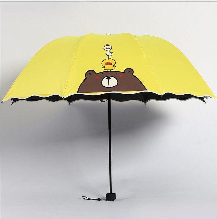 Cartoon Yellow Sun Umbrella Folding Waterproof Summer Rain&Sun Umbrella For Sale UV Protection Cartoon Bear Yellow Umbrella