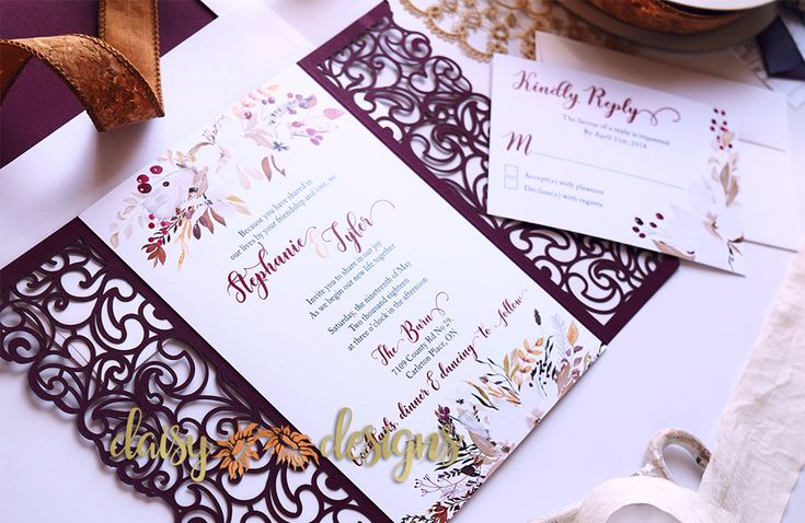Announce your wedding with these spectacular Cranberry and Cream invitations from Daisy Designs. The laser cut gate-fold will certainly increase the 'Wow' factor.