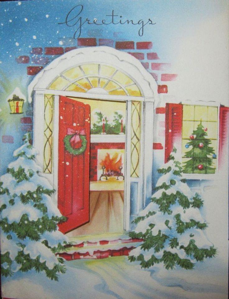 Vintage Christmas Card Peek Thru Open Front Red Door House Fireplace Tree Snowy