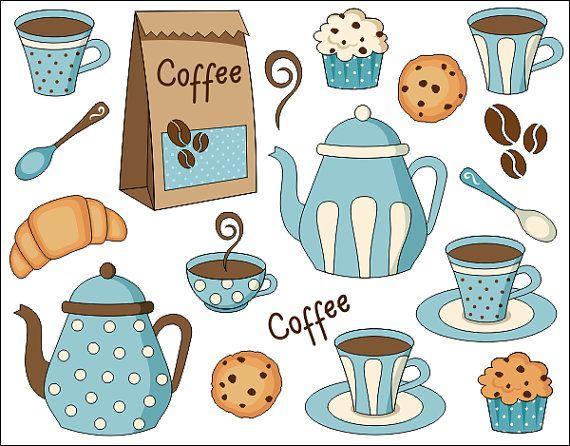 Café tiempo Digital Clip Art Set  gráfico Digital  por YarkoDesign
