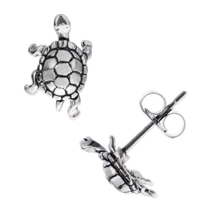 Let these cute high-polish sterling silver turtle stud earrings bring out the animal lover in you. A carved shell adds interest to the design, and friction backs and butterfly clasps ensure that the pieces stay firmly attached to your ears.