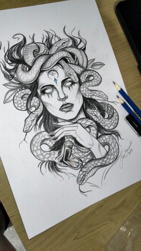 Very cool drawing of Medusa depicting how her beautiful hair has turned into snakes from Athena. Tattoos Bein, Dope Tattoos, Leg Tattoos, Body Art Tattoos, Tattos, Faith Tattoos, Music Tattoos, Medusa Tattoo Design, Tattoo Design Drawings