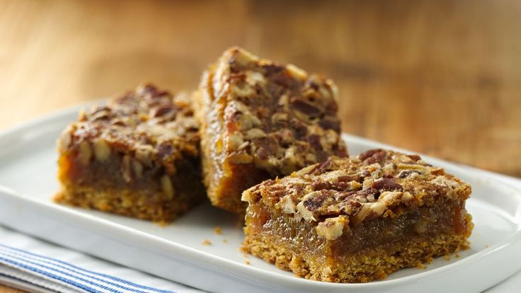 Enjoy these crunchy bars packed with pecans – a delightful dessert!