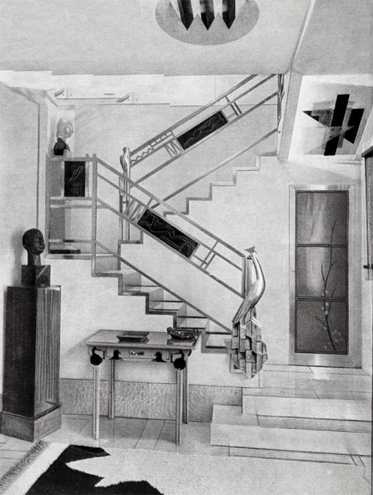 Jacques Doucet's hôtel particulier stairs, 33 rue Saint-James, Neuilly-sur-Seine, 1929 photograph by Pierre Legrain - Art déco — Wikipédia