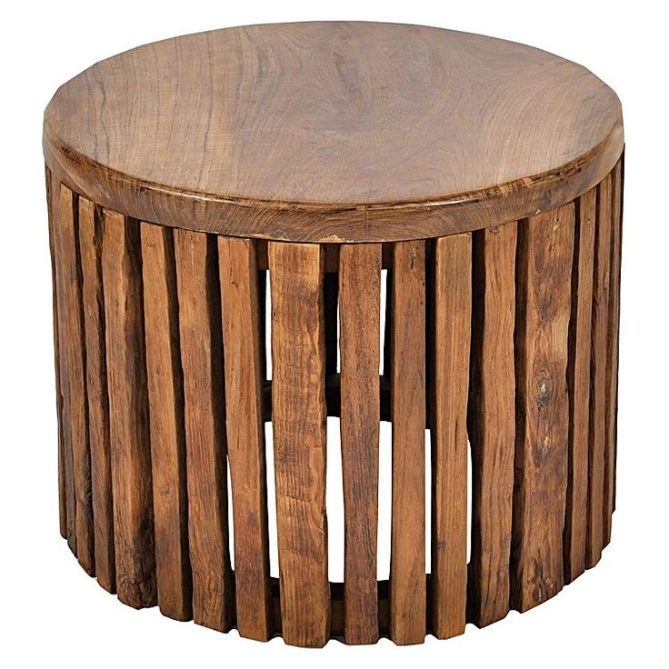 Tropica Woody Slats Round Coffee Table, Medium