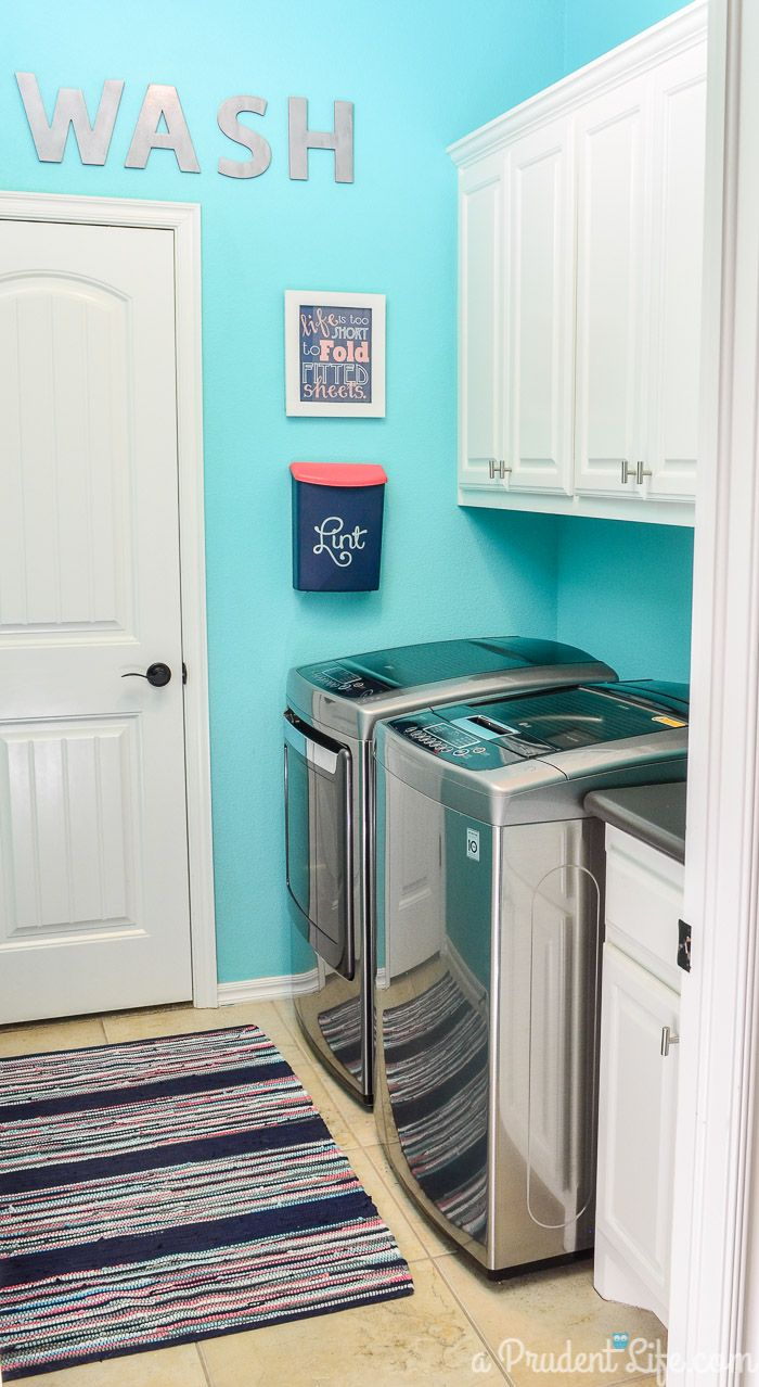 Best color for laundry room - Bright Organized Laundry Room Reveal