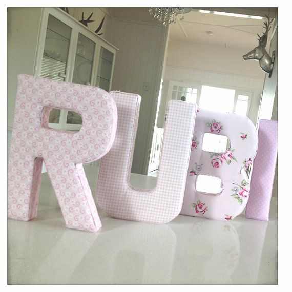 Fabric Letter Wall Hanging - Personalised Name in Shabbychic floral pinks and gingham