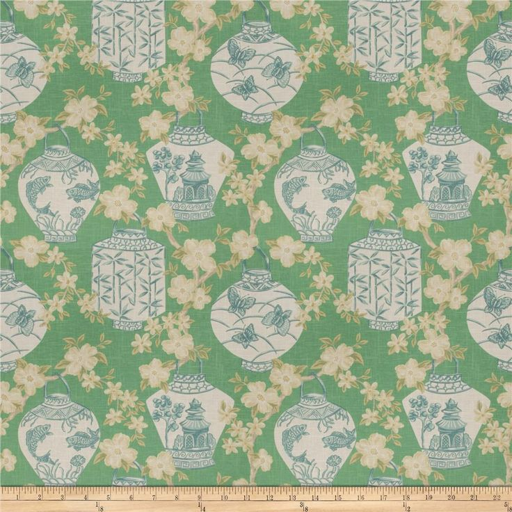 Jaclyn Smith 03710 Peacock from @fabricdotcom  Screen printed on 55% linen, 45% rayon, this medium/heavyweight fabric features an asian pattern and is perfect for window accents (draperies, valances, curtains, and swags), accent pillows, duvet covers, and upholstery projects.  $38.32.  11/2016.