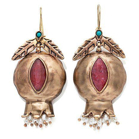 Müze by Gypsy Pomegranate Multigem Bronze Drop Earrings