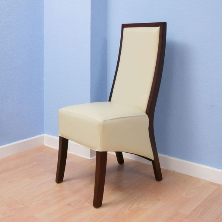 High Back Cream Leather Dining Chair Hard Wood Frame Ex Display Set Of 2