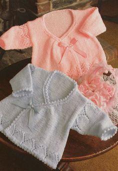 Strickmuster PDF für Weibliche Babies Strickjacken in wickeln Größen 14 16 und 18-Zoll-Brust Neugeborenen vorzeitige