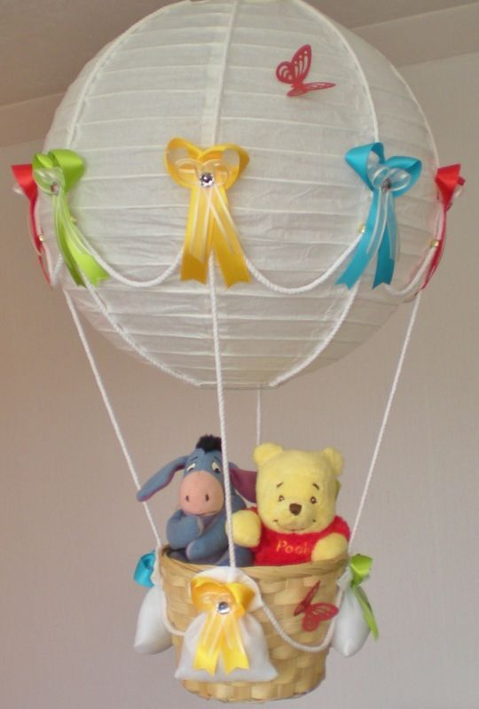Mejores 15 imgenes de decoracion en pinterest fiestas infantiles winnie the pooh and eeyore in hot air balloon lamp light shade for baby nursery aloadofball Gallery