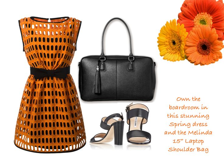 Go from the office to dinner in this to-die-for Macrame open lace dress, strap sandals and the Melinda 15 Inch Laptop Shoulder Bag for women.