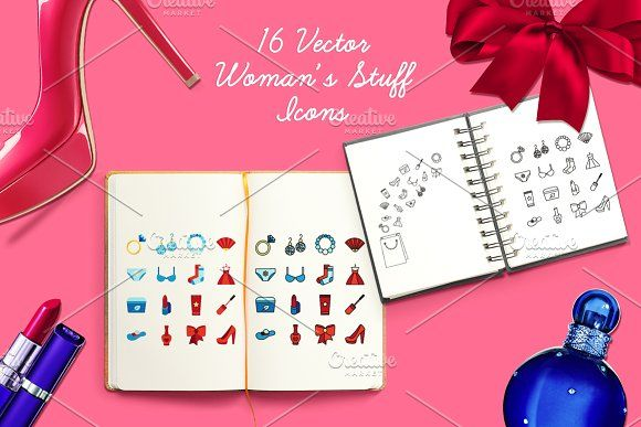 Women's Stuff Icons And Patterns by barsrsind on @creativemarket