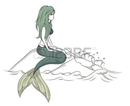 illustrazione vettoriale di una sirena seduta su una roccia a picco sul mare Archivio Fotografico