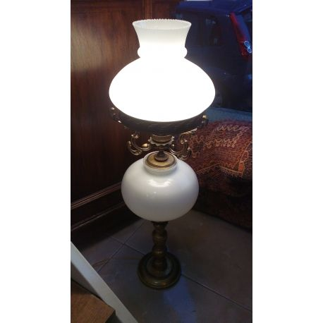 Antique Brass and bronze opal table lamp