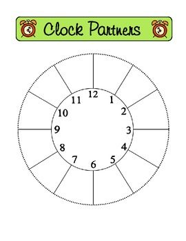{FREE} Clock Partners Packet with instructions and suggestions for use in your classroom - great management tool!