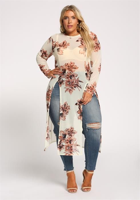 969dd7ea00b Plus Size Two Slit Floral Mesh Maxi Top