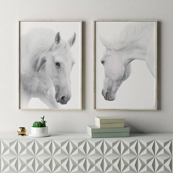 white horses prints minimal interior wall art
